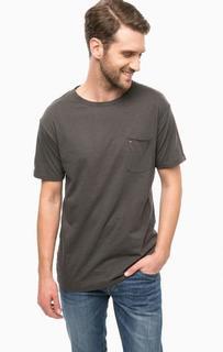 Серая хлопковая футболка с карманом Hilfiger Denim
