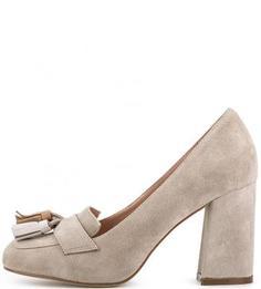 Замшевые туфли на высоком каблуке с бахромой Tosca BLU