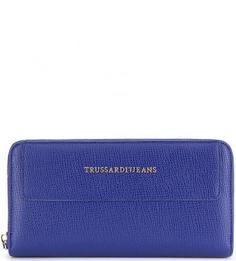 Синий кошелек с четырьмя отделами для купюр Trussardi Jeans
