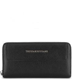 Черный кошелек с четырьмя отделами для купюр Trussardi Jeans