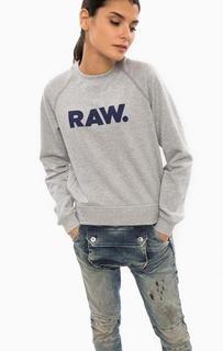 Серый хлопковый свитшот с принтом G Star RAW