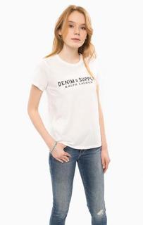 Белая хлопковая футболка с круглым вырезом D&S Ralph Lauren