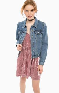 Джинсовая куртка с цветочным принтом на спине Glamorous