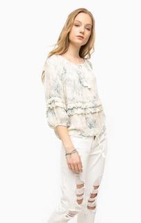 Блуза свободного кроя с воланами D&S Ralph Lauren