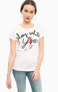 Белая футболка с короткими рукавами Happiness