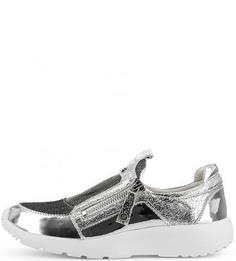 Серебристые кроссовки на молнии Massimo Santini