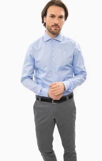 Приталенная синяя рубашка из хлопка Cinque