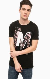 Черная футболка с круглым вырезом Alcott