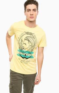 Желтая хлопковая футболка с принтом Alcott