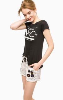 Черная футболка с удлиненной спинкой Alcott
