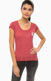 Бордовая футболка с нагрудным карманом Alcott
