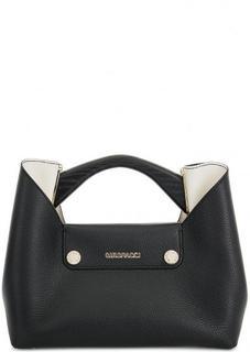 Черная кожаная сумка с одним отделом Gironacci