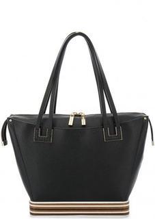 Черная кожаная сумка на молнии Gironacci