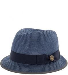 Плетеная синяя шляпа с широкой лентой Goorin Bros.