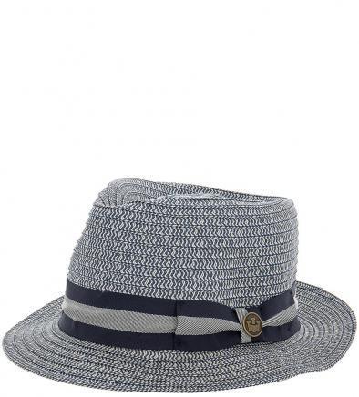 Плетеная шляпа с широкой синей лентой