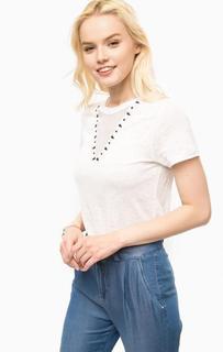Белая льняная футболка с сетчатой вставкой Kocca