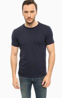 Синяя хлопковая футболка с круглым вырезом Lacoste