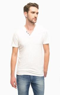 Хлопковая футболка с треугольным вырезом Tom Tailor Denim
