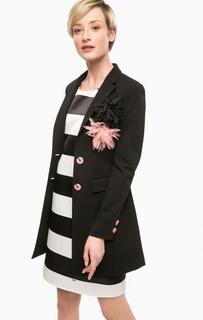 Черный пиджак с брошками Pois