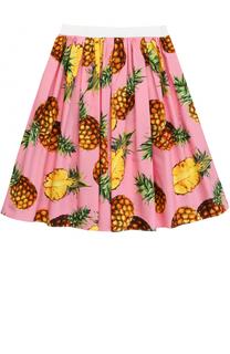 Юбка-миди с широким поясом и ярким принтом Dolce & Gabbana