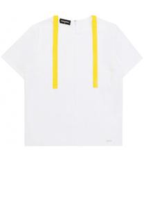 Блуза из хлопка с контрастной отделкой Dsquared2