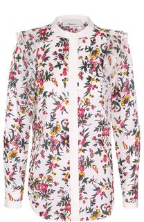 Шелковая блуза с цветочным принтом и оборками 3.1 Phillip Lim