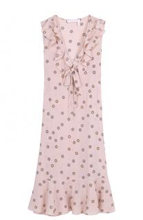 Платье-миди с V-образным вырезом и оборками See by Chloé