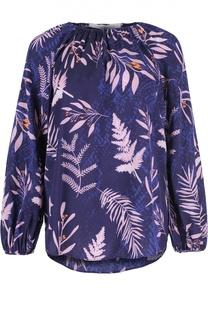 Шелковая блуза прямого кроя с растительным принтом Diane Von Furstenberg