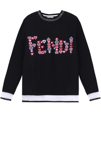 Свитшот с полупрозрачными вставками и контрастной отделкой Fendi