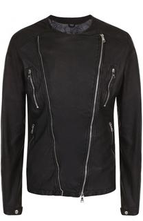 Кожаная куртка с косой молнией Giorgio Brato