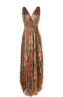 Шелковое плиссированное платье асимметричного кроя Oscar de la Renta