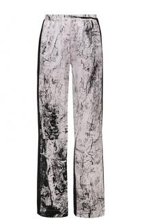 Шелковые брюки с принтом и контрастными лампасами Ilaria Nistri