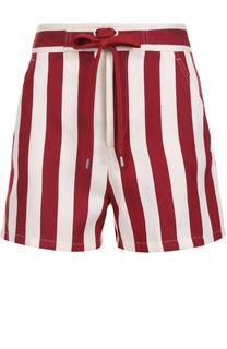 Мини-шорты в контрастную полоску с поясом REDVALENTINO