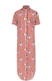 Шелковое платье-рубашка в контрастную полоску Stella Jean