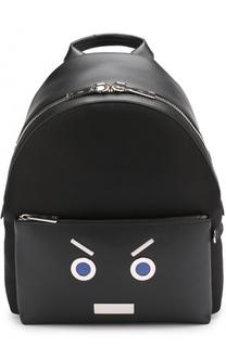 Кожаный рюкзак с отделкой Faces Fendi