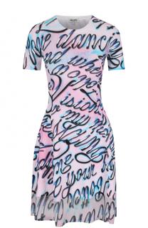 Приталенное мини-платье с контрастным принтом Kenzo