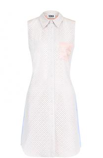 Кружевное мини-платье с хлопковой спинкой в полоску Sonia by Sonia Rykiel