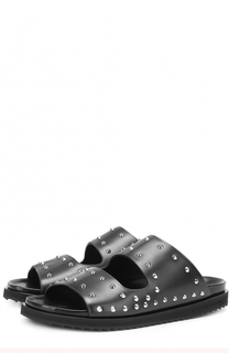 Кожаные шлепанцы с декоративной отделкой щ=шипами Alexander McQueen