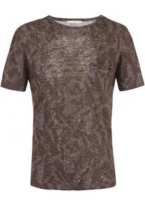 Льняная футболка с принтом Daniele Fiesoli
