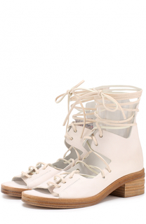 Кожаные босоножки на шнуровке Marsell