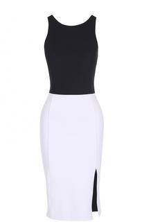 Приталенное платье с контрастным лифом и открытой спиной Polo Ralph Lauren