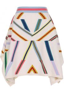 Кашемировая юбка асимметричного кроя с принтом Barrie