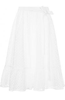 Кружевная юбка с оборкой и поясом Tory Burch