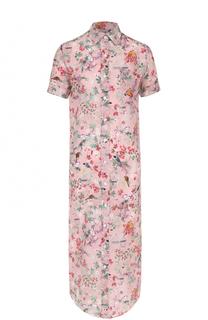 Шелковое платье-рубашка с цветочным принтом Stella Jean