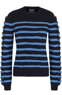 Кашемировый пуловер в полоску с бахромой Barrie