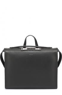 Кожаный портфель на молнии Fendi