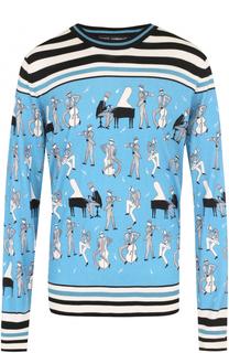 Джемпер тонкой вязки из смеси кашемира и шелка с принтом Dolce & Gabbana