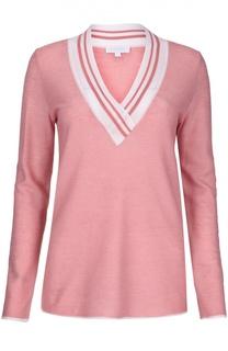 Приталенный пуловер с V-образным вырезом и контрастной отделкой Escada Sport