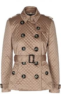 Стеганая двубортная куртка с ремнем Burberry