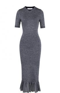 Платье-футляр с коротким рукавом и оборкой Victoria Beckham